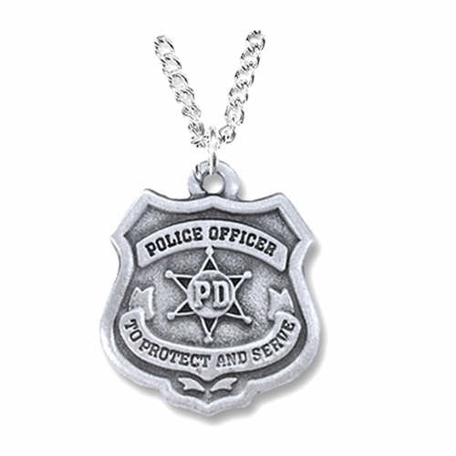 1 Inch Pewter Police Officer Shield Medal with Cross on Back