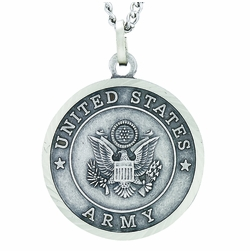 1 Inch Round Nickel Silver U.S. Army Medal with Christ Strengthens Me on Back