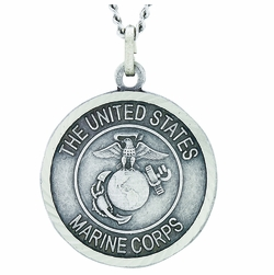 1 Inch Round Nickel Silver U.S. Marine Medal with Christ Strengthens Me on Back