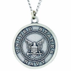 1 Inch Round Nickel Silver U.S. Navy  Medal with Christ Strengthens Me on Back