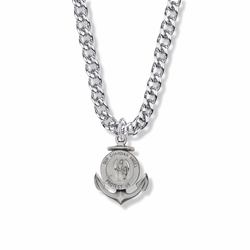 1 Inch Round Sterling Silver Guardian Angel Medal with Ship Anchor