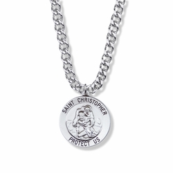 1 Inch Round Sterling Silver St. Christopher Medal, Patron of Travelers