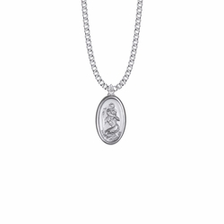 1 Inch Silver Oval St. Christopher Polished Border Medal, Patron Saint of Travelers