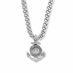1 Inch Sterling Silver Anchor St. Christopher Medal, Patron Saint of Travelers
