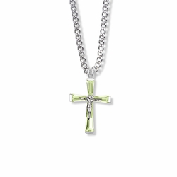 1 Inch Sterling Silver and Glass Crystal August Birthstone Baguette Crucifix Necklace