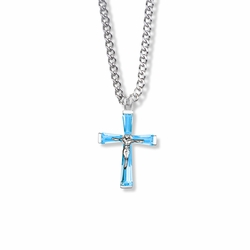 1 Inch Sterling Silver and Glass Crystal December Birthstone Baguette Crucifix Necklace