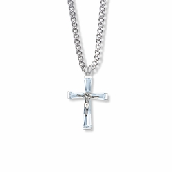 1 Inch Sterling Silver and Glass Crystal June Birthstone Baguette Crucifix Necklace