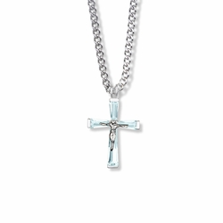 1 Inch Sterling Silver and Glass Crystal March Birthstone Baguette Crucifix Necklace