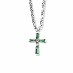 1 Inch Sterling Silver and Glass Crystal May Birthstone Baguette Crucifix Necklace