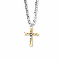 1 Inch Sterling Silver and Glass Crystal November Birthstone Baguette Crucifix Necklace