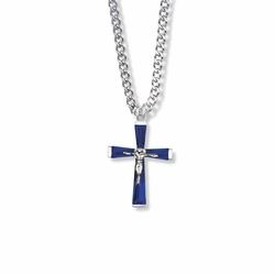 1 Inch Sterling Silver and Glass Crystal September Birthstone Baguette Crucifix Necklace