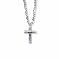 1 Inch Sterling Silver Beveled Crucifix Necklace