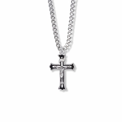 1 Inch Sterling Silver Black Border Crucifix Necklace
