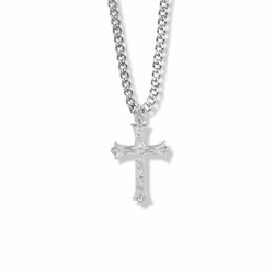 1 Inch Sterling Silver Budded Ends Cross Necklace