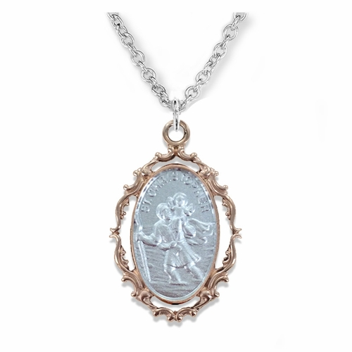 1 Inch Sterling Silver with Decorative Rose Gold Plating Border Oval St. Christopher Medal, Patron of Travelers