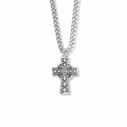 1 Inch Sterling Silver Diamond Drag Engraved Celtic Cross Necklace