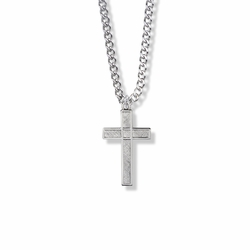 1 Inch Sterling Silver Diamond Engraved Cross Necklace