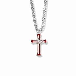 1 Inch Sterling Silver Enameled and Budded Ends Dove Cross Necklace
