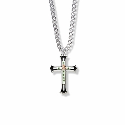 1 Inch Sterling Silver Enameled Rose Cross on Budded Ends Cross Necklace