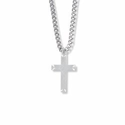 1 Inch Sterling Silver Engraved Ends Cross Necklace on 18 inch stainless steel rhodium plated chain