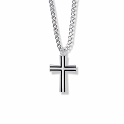 1 Inch Sterling Silver Flared Cross with Black Enamel Detailing Necklace