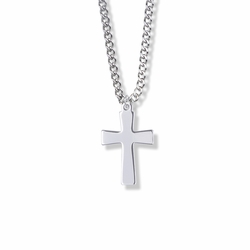 1 Inch Sterling Silver Flared Ends Cross Necklace