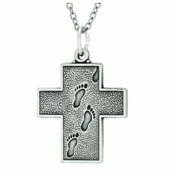 1 Inch Sterling Silver Footprints Cross Necklace with Verse on Back