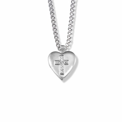 1 Inch Sterling Silver Heart Locket Necklace with Cubic Zirconia Stone Cross