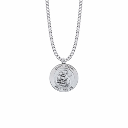 15/16 Inch Sterling Silver Large Round St. Joseph Medal, Patron Saint of Carpenters and Fathers