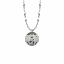 1 Inch Sterling Silver Large Round St. Jude Medal, Patron Saint Of Hopeless Causes and Desperation