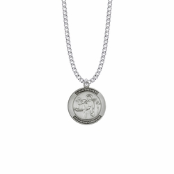 1 Inch Sterling Silver Large Round St. Luke Medal, Patron Saint Of Doctors and Artists