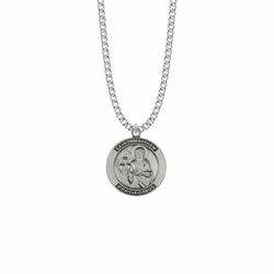 1 Inch Sterling Silver Large Round St. Matthew Medal, Patron Saint Of Bankers and Accountants