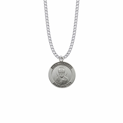 1 Inch Sterling Silver Large Round St. Nicholas Medal, Patron Saint Of Children