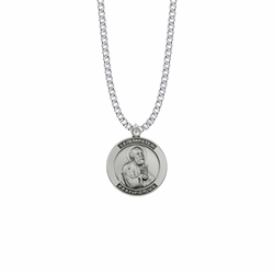 1 Inch Sterling Silver Large Round St. Peter Medal, Patron Saint of Fishermen and Ship Builders