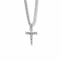 1 Inch Sterling Silver Nail Crucifix Necklace