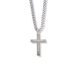 1 Inch Sterling Silver Outlined Inner Cross Necklace