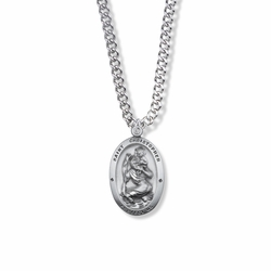 1 Inch Sterling Silver Oval St. Christopher Medal, Patron of Travelers