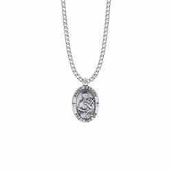 1 Inch Sterling Silver Oval St. Gerard Medal, Patron Saint of Expectant Mothers