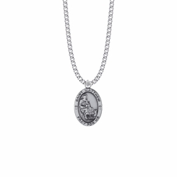 1 Inch Sterling Silver Oval St. Matthew Medal, Patron Saint of Bankers and Accountants