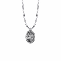 1 Inch Sterling Silver Oval St. Raphael Medal, Patron Saint of Doctors and Medical Workers