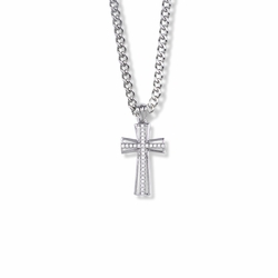 1 Inch Sterling Silver Pierced and Flared Crystal CZ Stone Cross Necklace