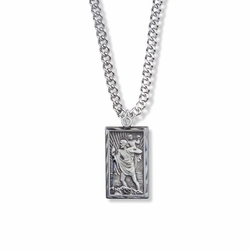 1 Inch Sterling Silver Rectangle St. Christopher Medal, Patron of Travelers