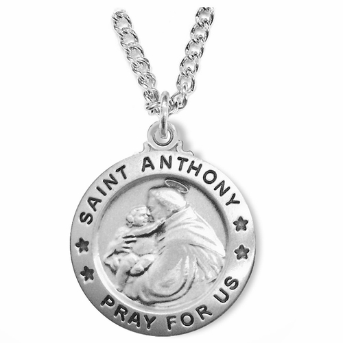 1 Inch Sterling Silver Round St. Anthony Medal, Patron of Lost Articles
