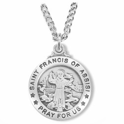 1 Inch Sterling Silver Round St. Francis Medal, Patron of Animals