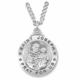 1 Inch Sterling Silver Round St. Joseph Medal, Patron of Workers
