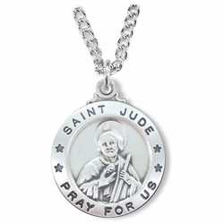 1 Inch Sterling Silver Round St. Jude Medal, Patron of Hopeless Causes