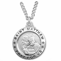 1 Inch Sterling Silver Round St. Matthew Medal, Patron of Accountants and Bankers