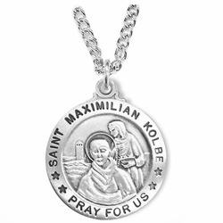 1 Inch Sterling Silver Round St. Maximilian Kolbe Medal, Patron of Charity and Drug Abuse