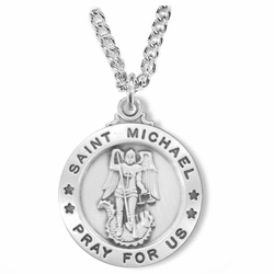 1 Inch Sterling Silver Round St. Michael Medal, Patron of Police