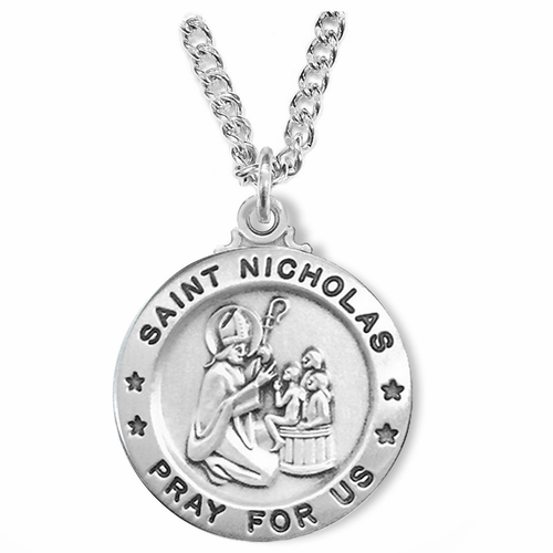 1 Inch Sterling Silver Round St. Nicholas Medal, Patron of Children